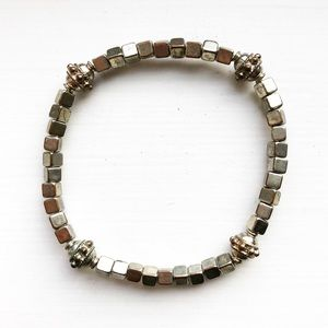 Vintage silver square beaded stretch bracelet
